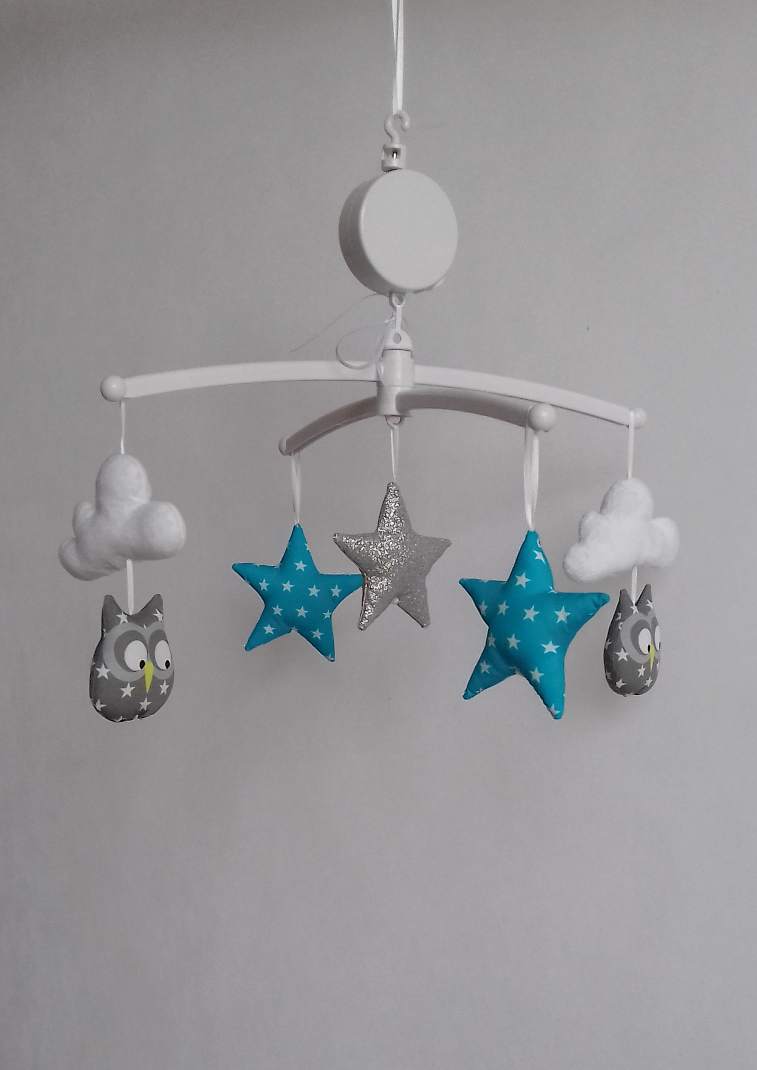 Mobile b b birds hiboux gris bleu guili gribouilli linge de lit et de d co pour enfant - Mobile bebe gris ...