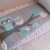 tour de lit hibou gris, vert, menthe à l'eau