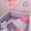 tour de lit hiboux gris rose