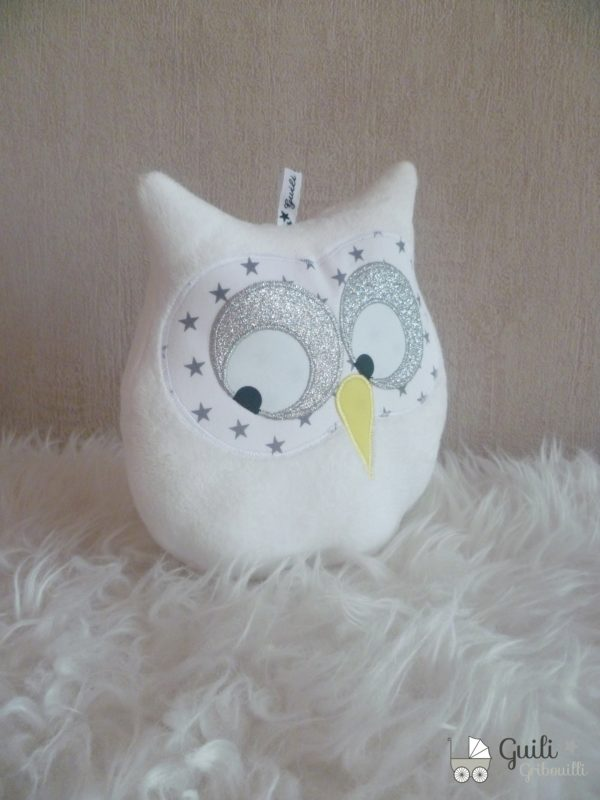 coussin hibou musical blanc