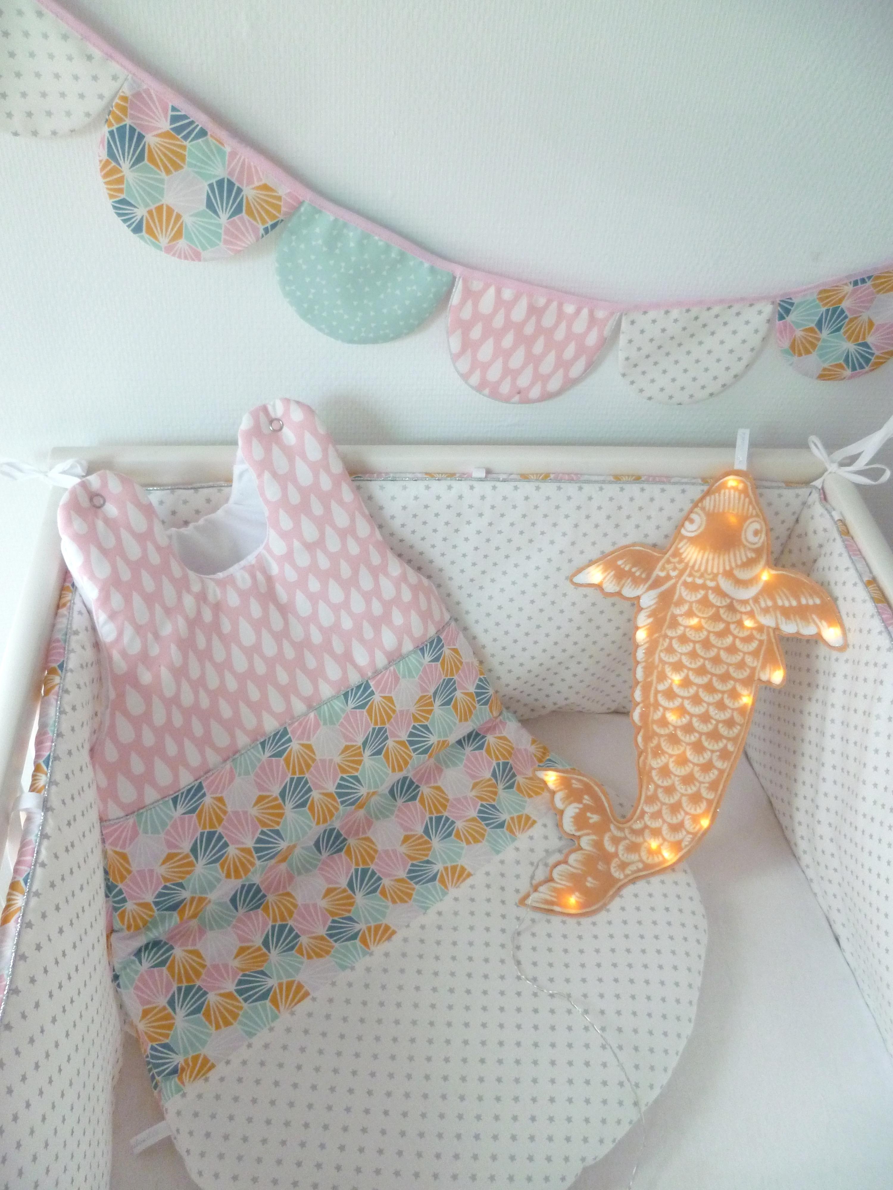 Tour de lit et gigoteuse origami guili gribouilli linge de lit et de d co pour enfant - Gigoteuse et tour de lit ...
