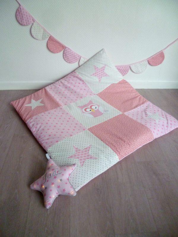 tapis de jeu hibou rose