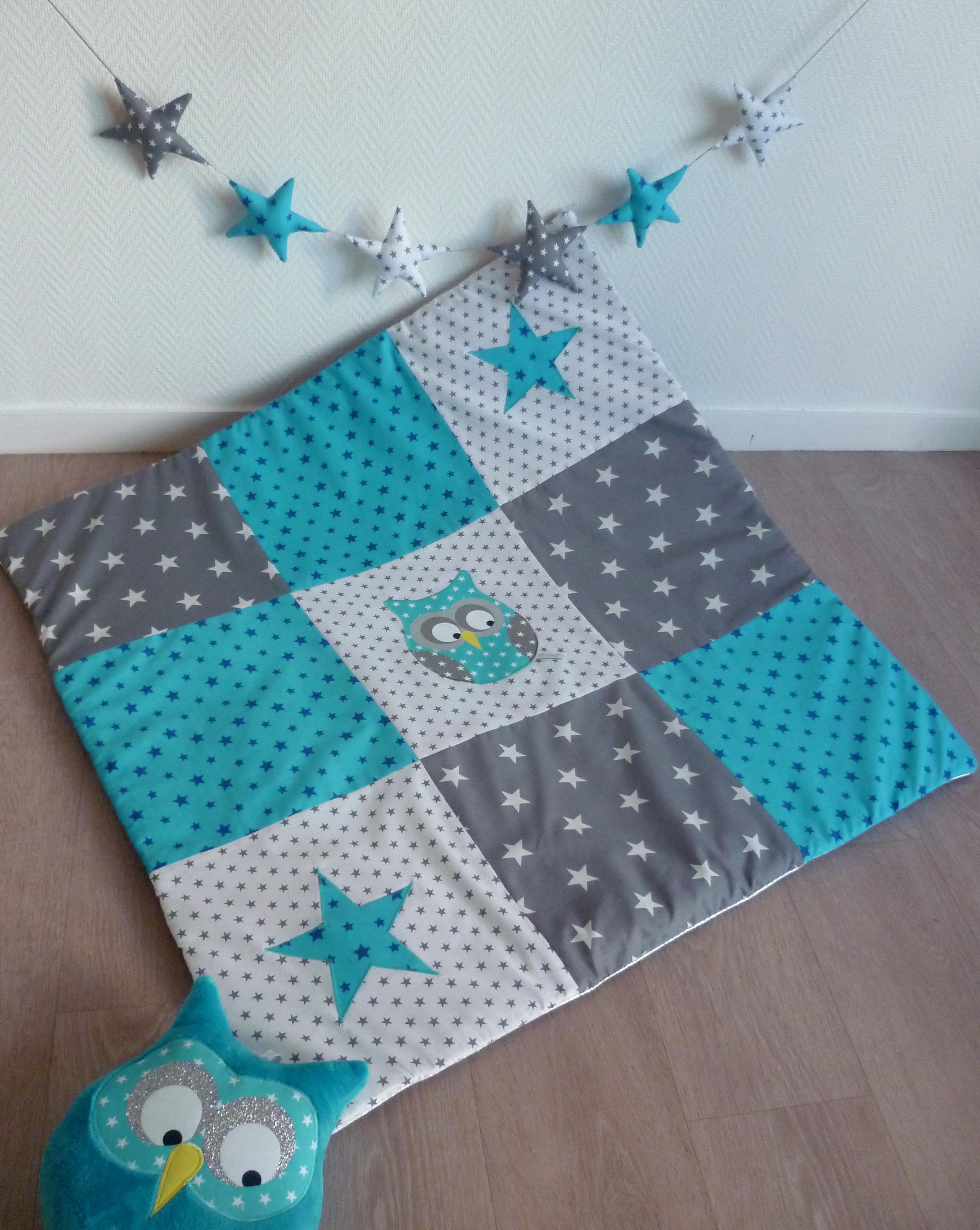 patchwork couverture bébé Tapis de jeu hibou Patchwork bleu · Guili Gribouilli   Linge de  patchwork couverture bébé