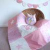 couverture hibou grenadine rose