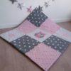 tapis de jeu hibou rose et gris