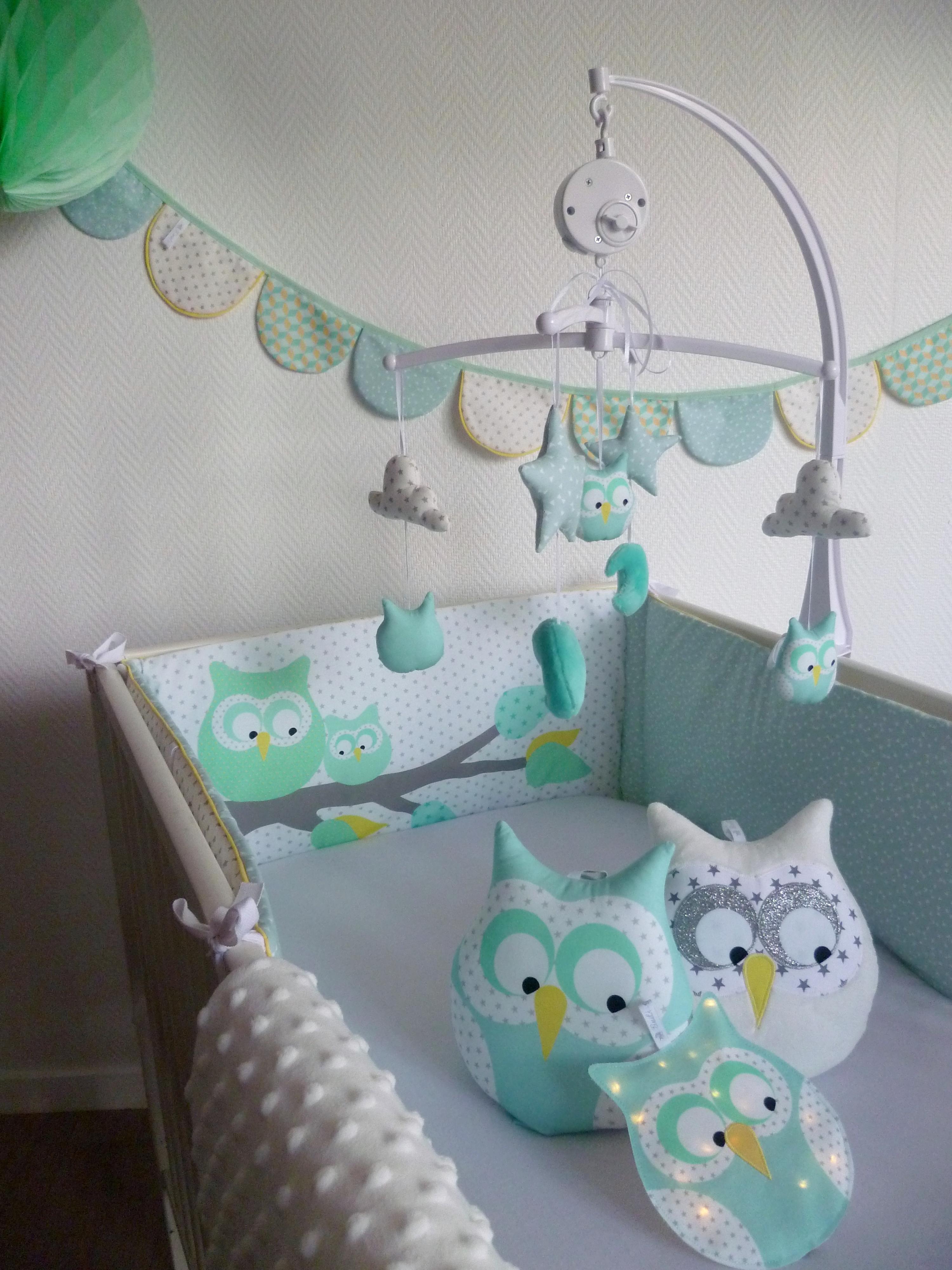 Tour de lit hiboux diabolo citron vert guili gribouilli linge de lit et de d co pour enfant - Tour de lit hibou ...