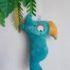 coussin perroquet bleu