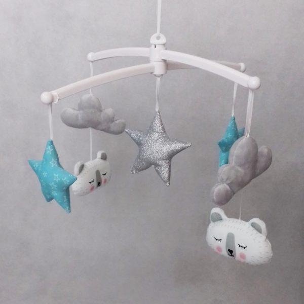 mobile bébé ours polaire bleu