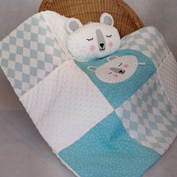 couverture bébé patchwork ours polaire bleu glacé