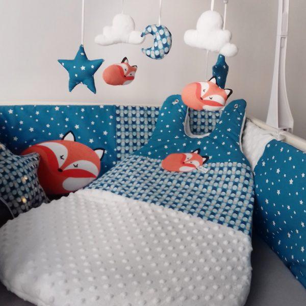tour de lit et gigoteuse renard bleu canard
