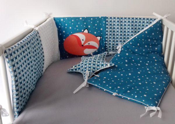 tour de lit renard bleu canard