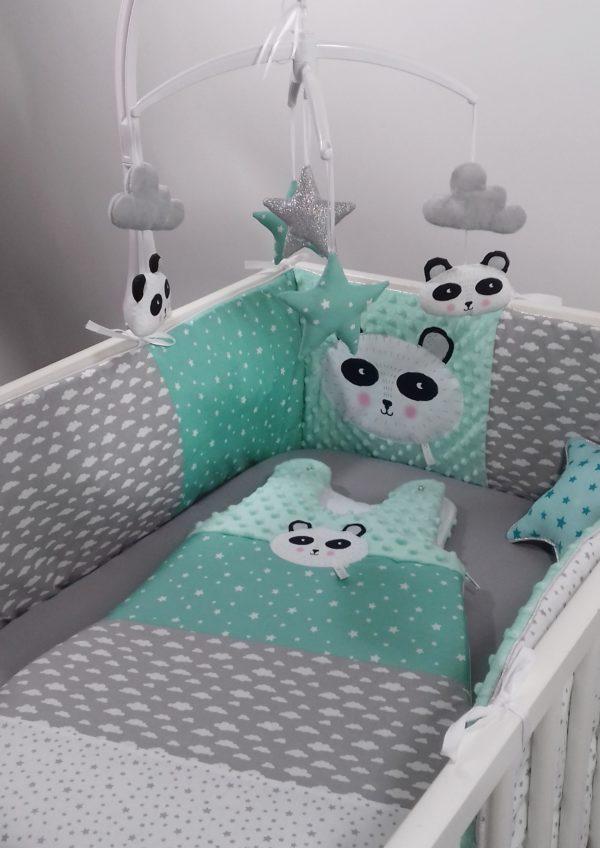 gigoteuse et tour de lit panda menthe