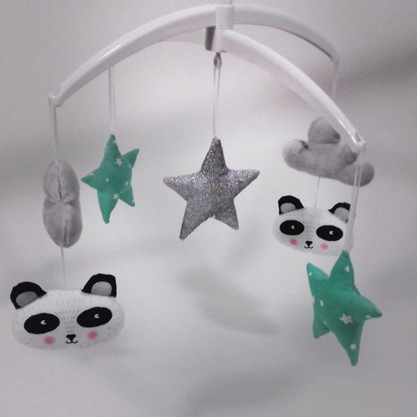 mobile musical bébé panda menthe