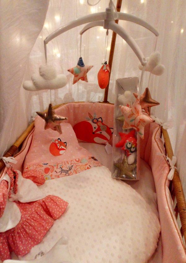 tour de lit et gigoteuse renard foxy gatsby rose