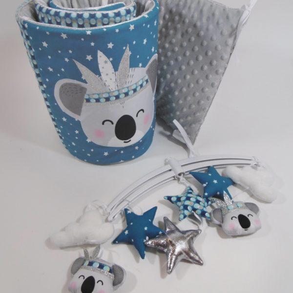 tour de lit et gigoteuse koala bleu