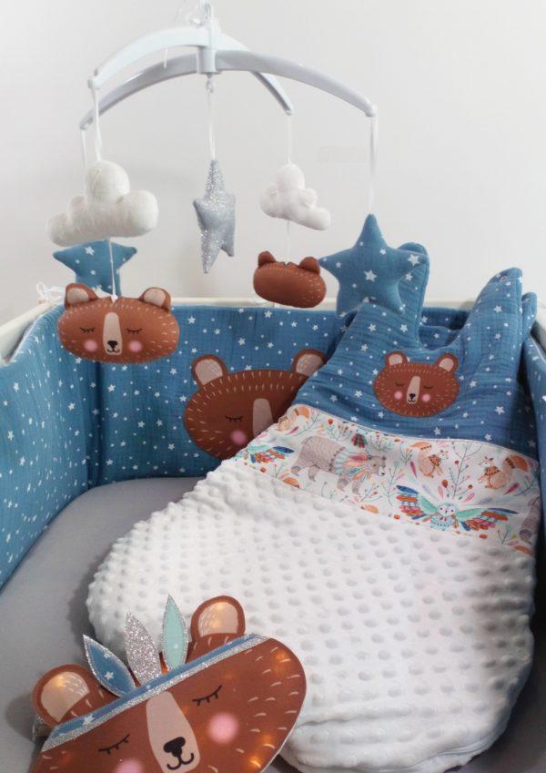 tour de lit et gigoteuse double gaze ours brun