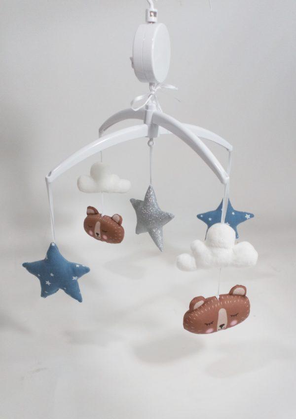 mobile bébé musical ours brun