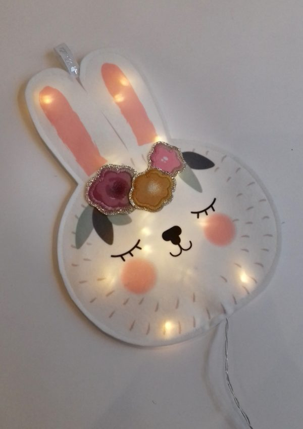 veilleuse lapin fleur rose